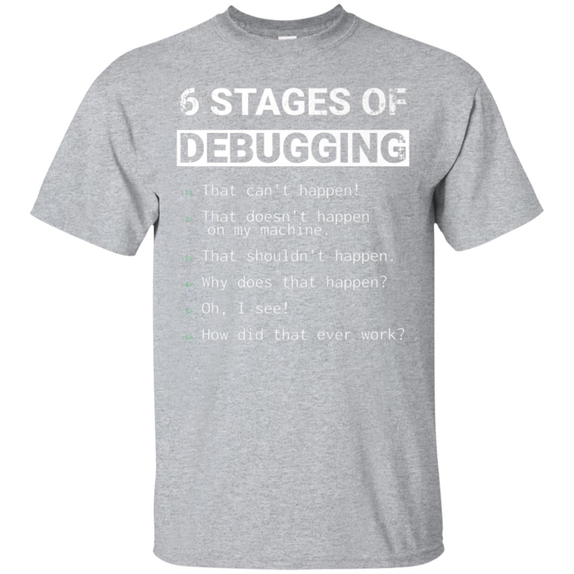 6 Stages of Debugging Funny Tshirt  Gift for coders 99promocode