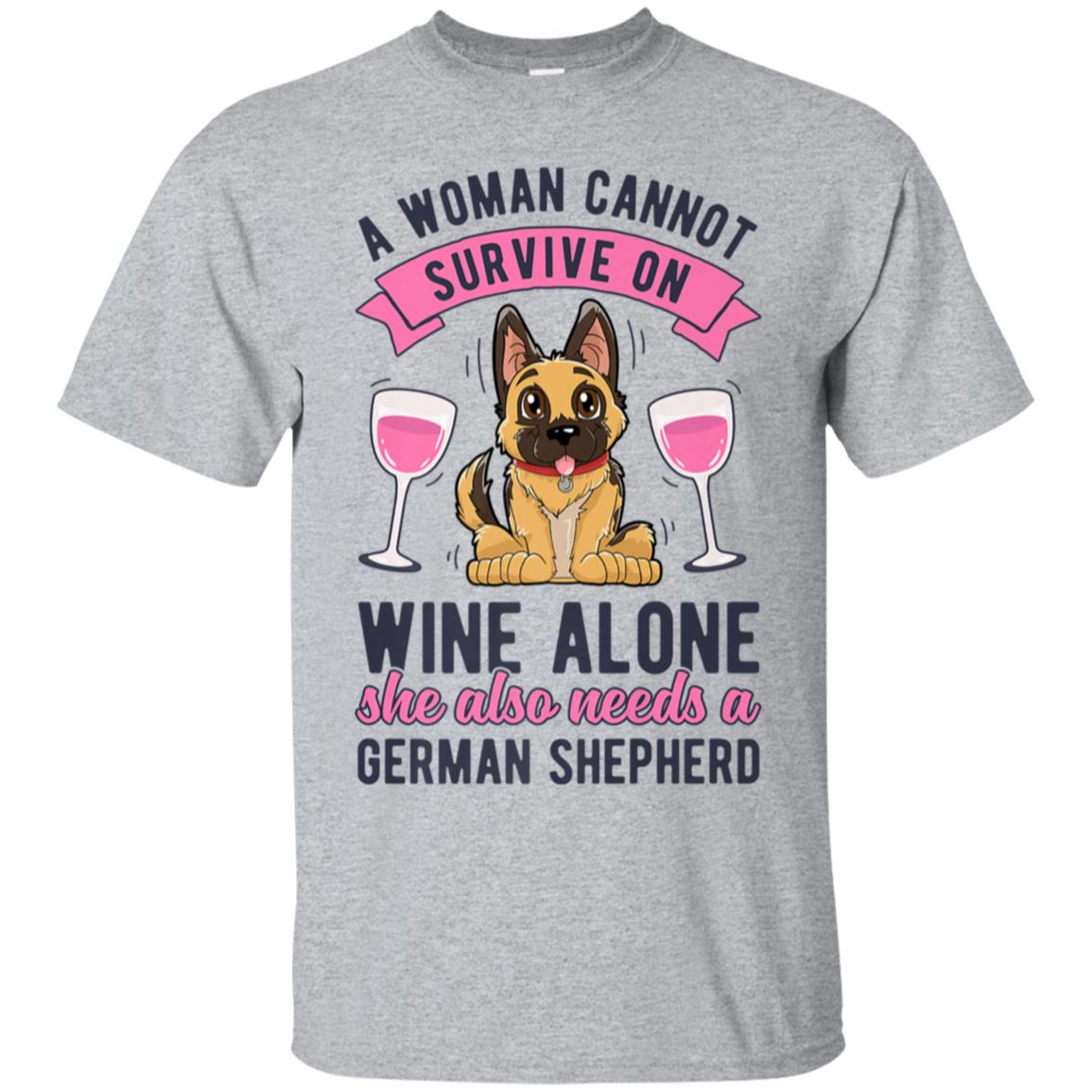 A Woman Cannot Survive on Wine Alone T shirt German Shepherd 99promocode