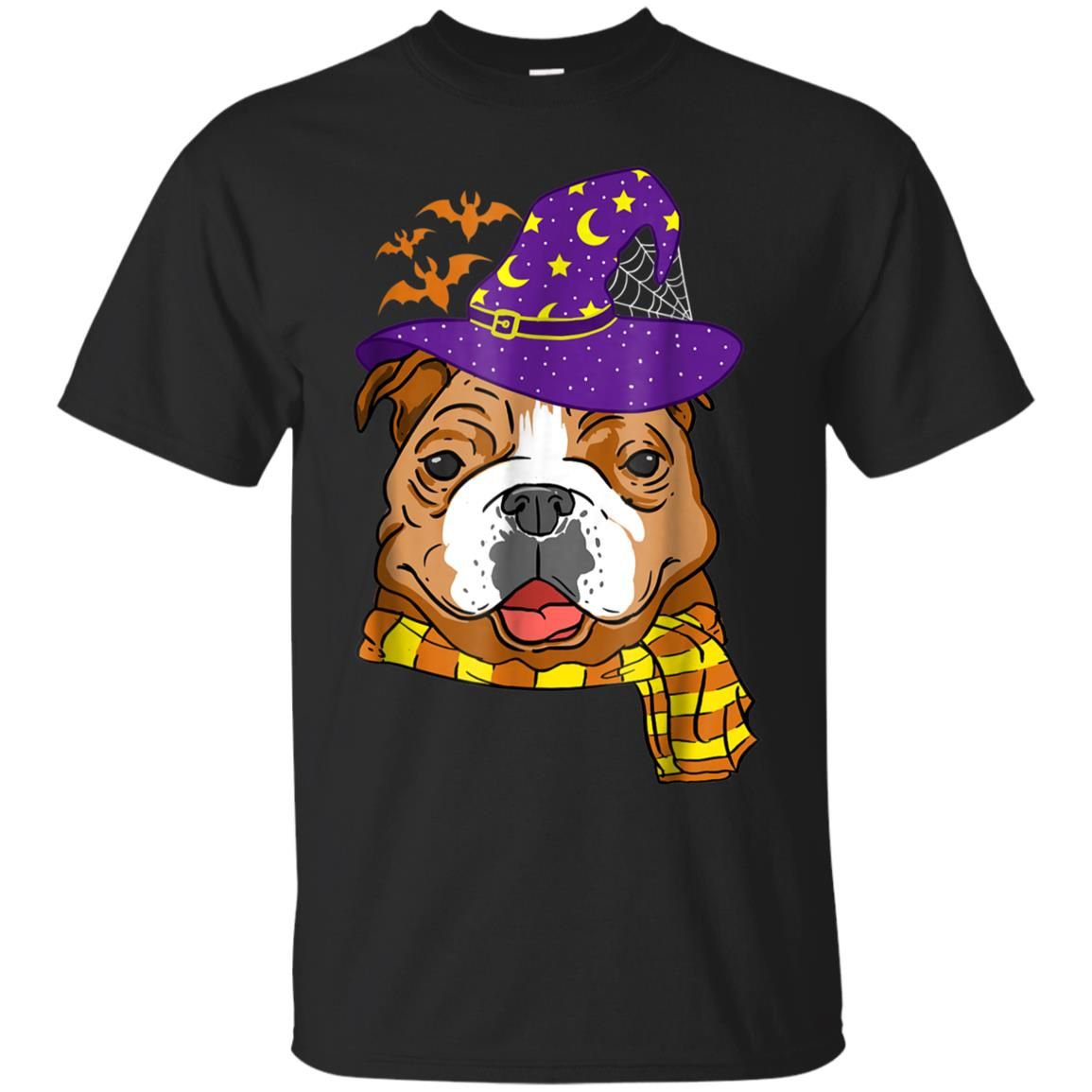 English Bulldog Witch Hat Flying Bats Halloween T-Shirt 99promocode