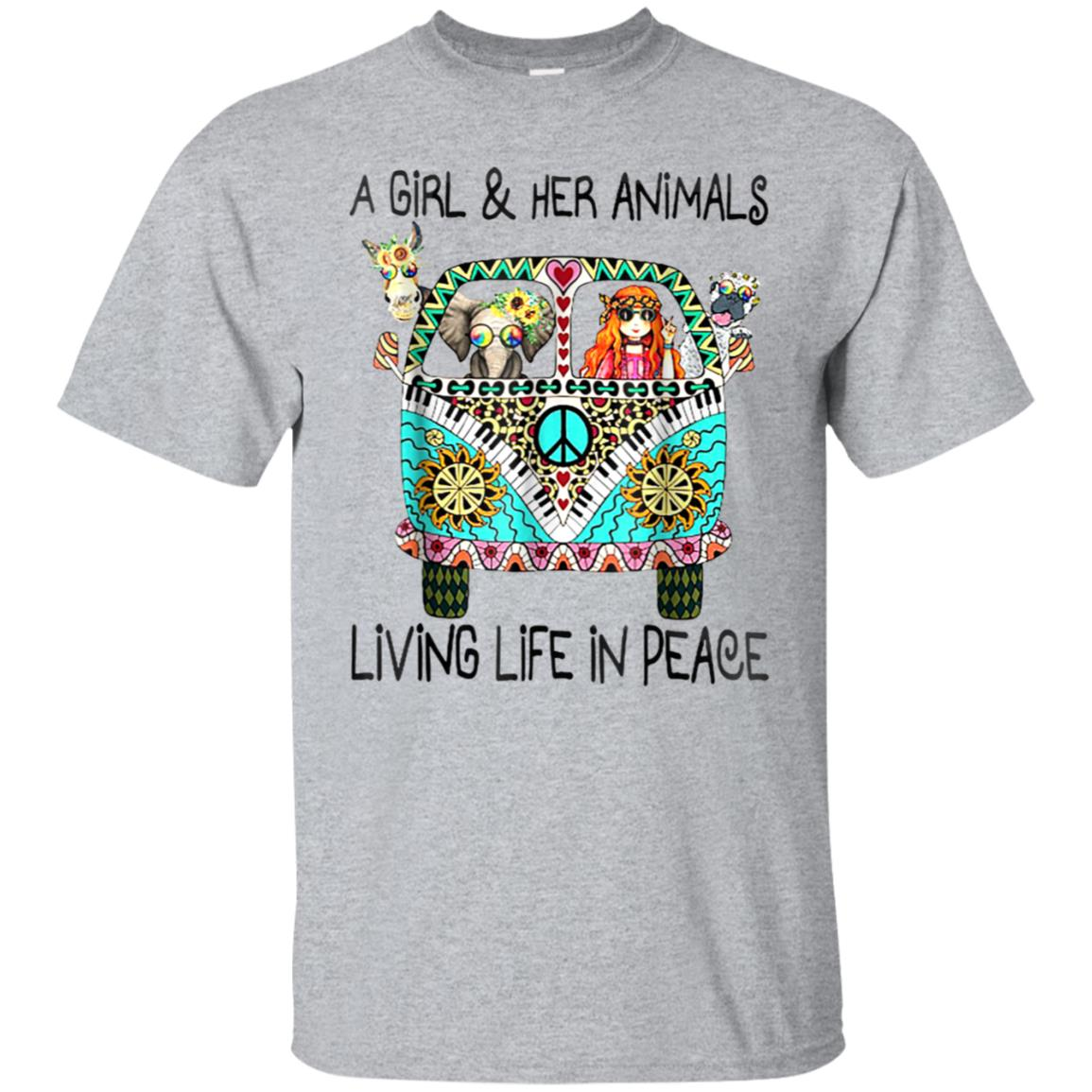 A Girl And Her Animals Living In Peace Cute T-Shirt 99promocode
