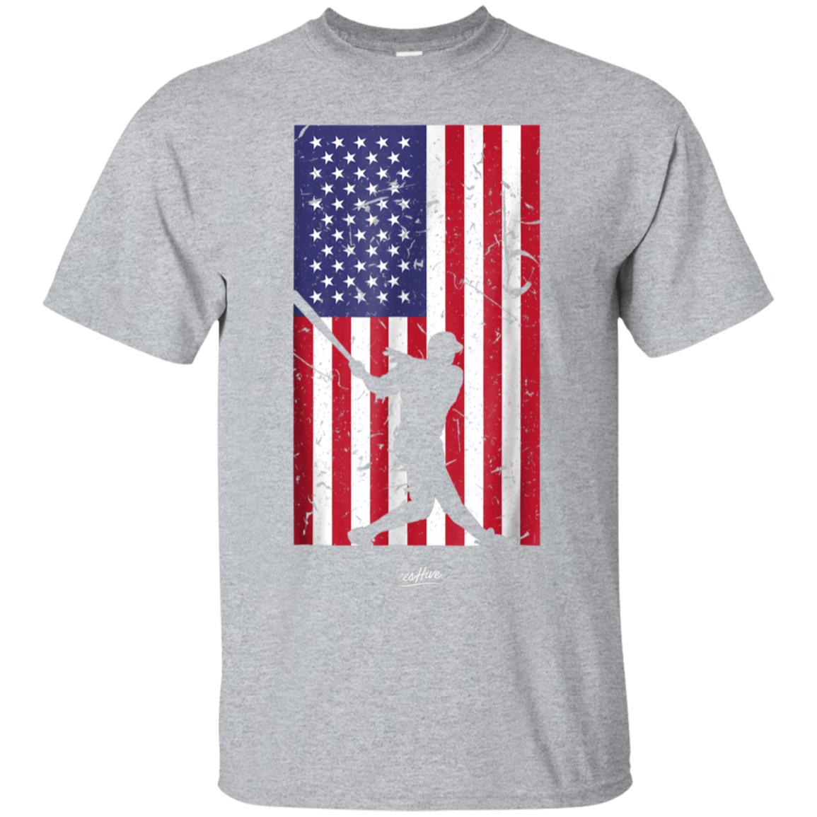 American Flag Baseball Love Distressed Baseball Player Shirt 99promocode
