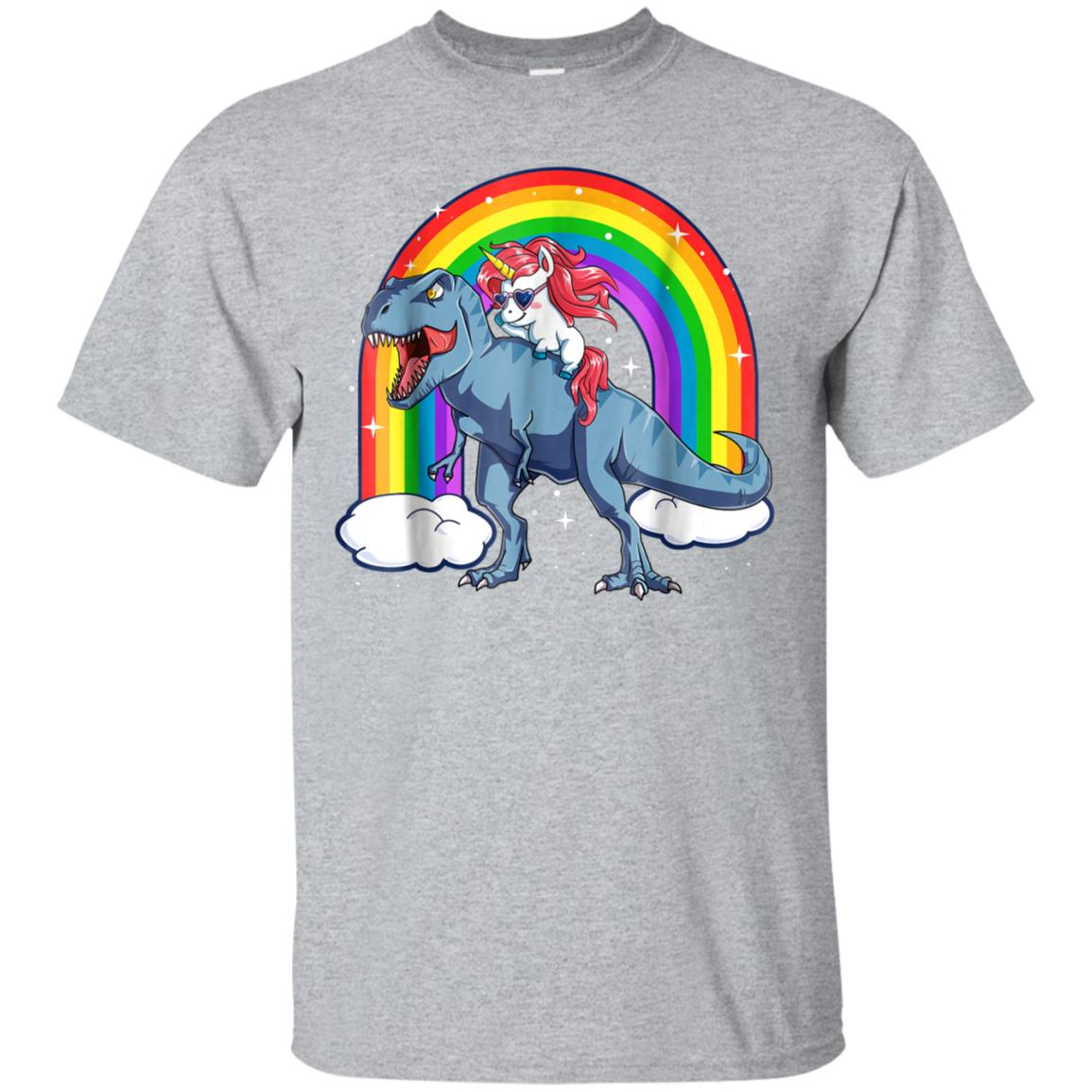 Unicorn Riding T rex Dinosaur T Shirt Unicorns Rainbow Gifts 99promocode