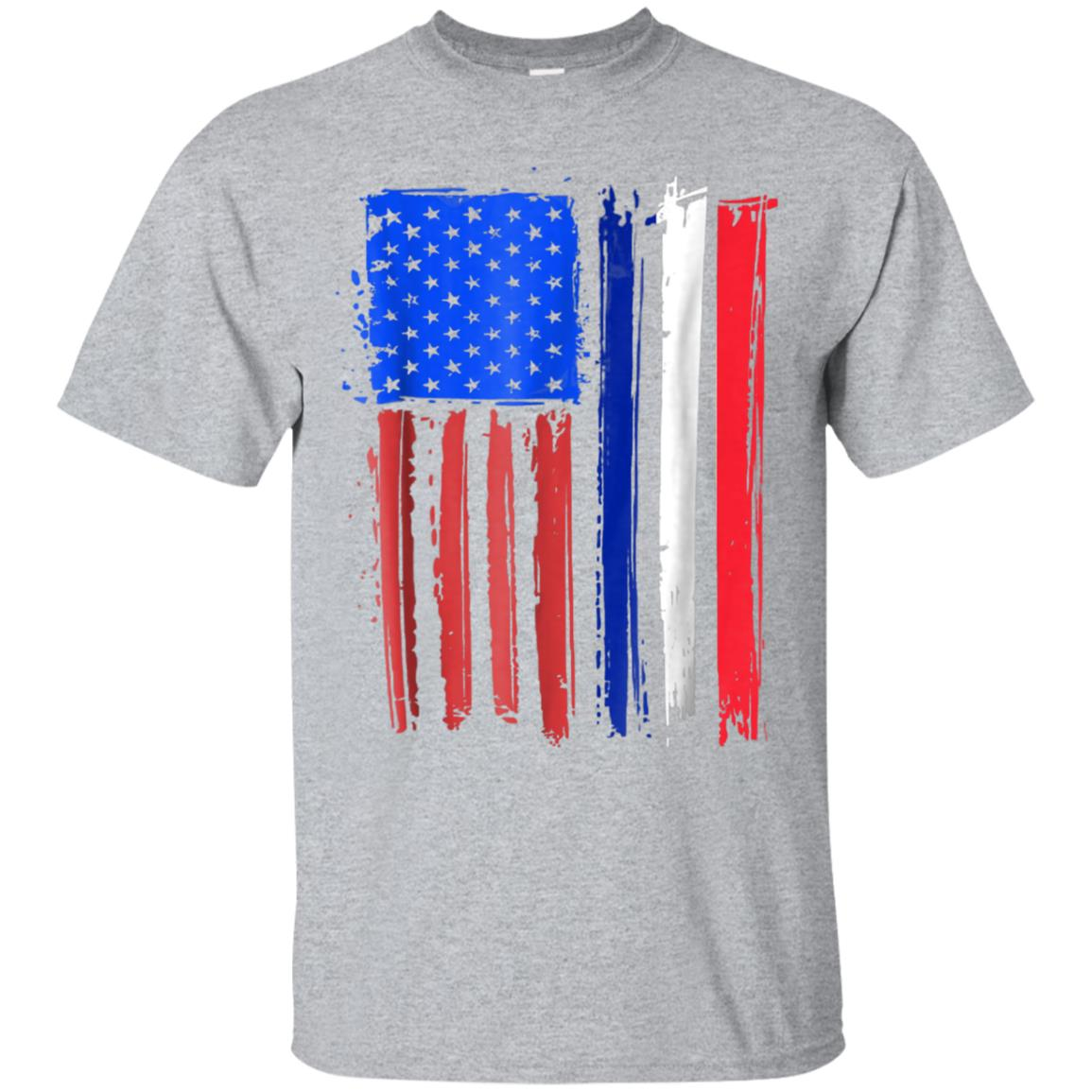 Half French American Flag Classic Patriot France T-shirt 99promocode