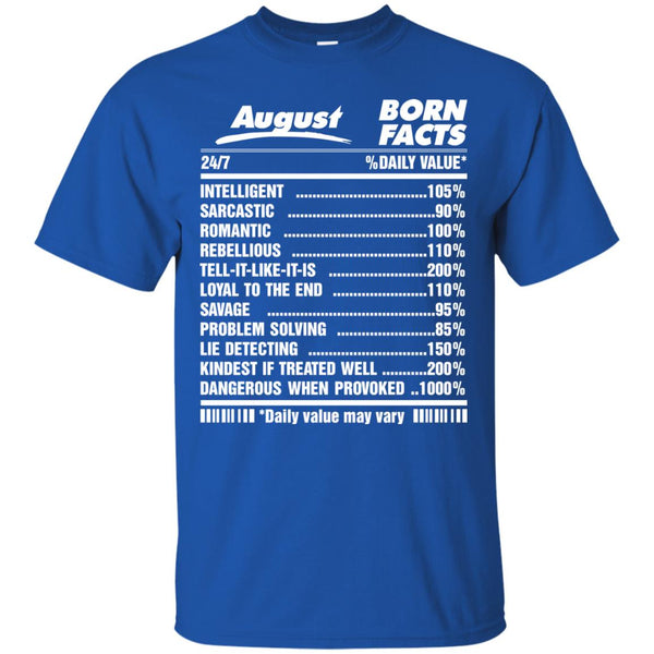 Awesome babies born in august born facts shirt
