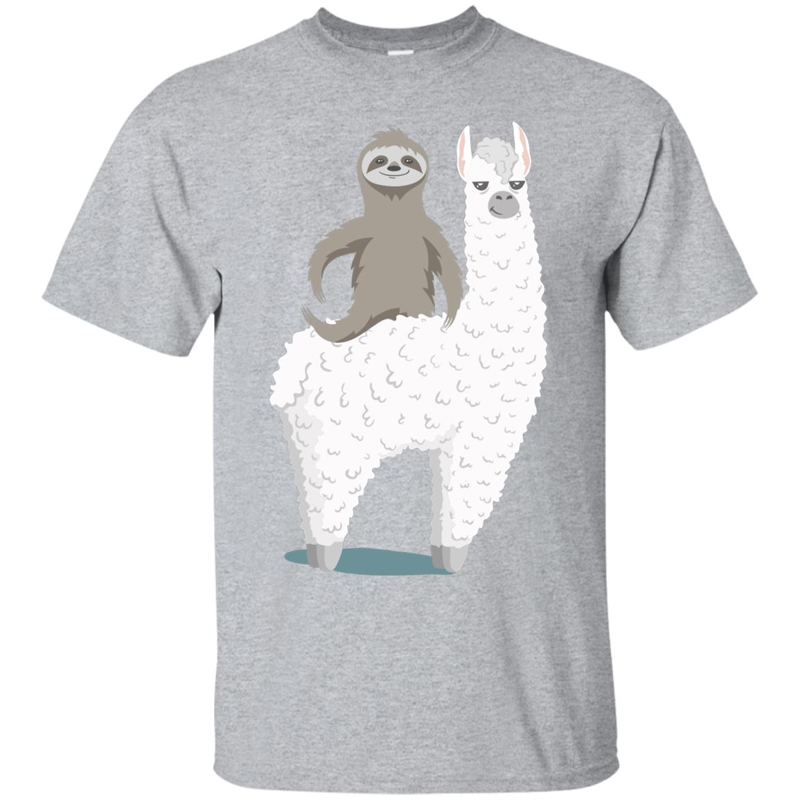 Sloth riding llama Funny T-shirt 99promocode