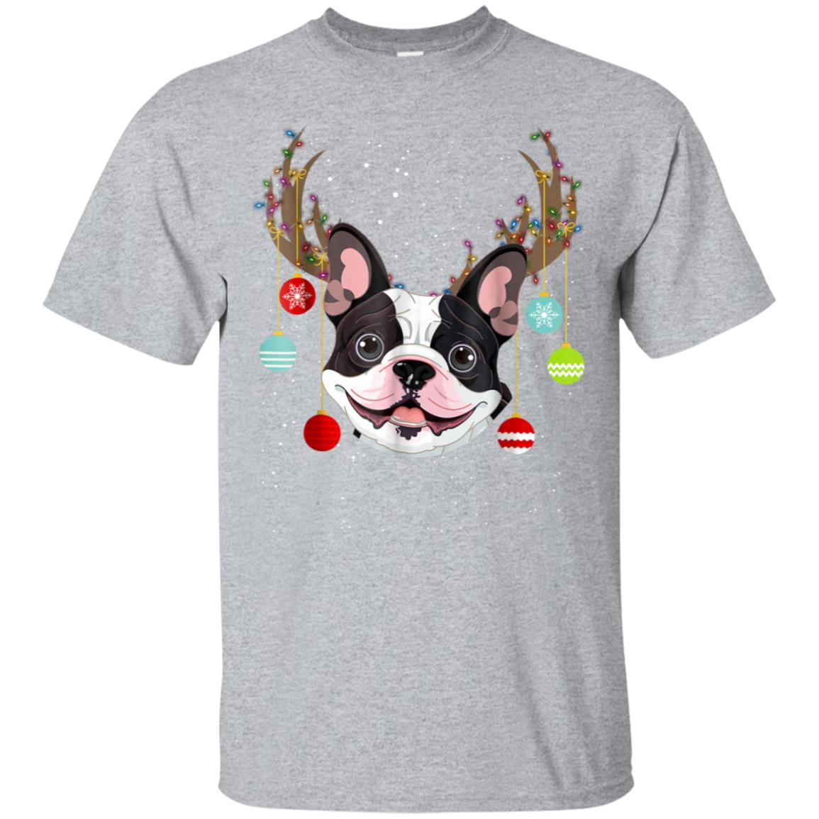 Funny Cute Dog Frenchie With Antlers Christmas Xmas T-shirt 99promocode