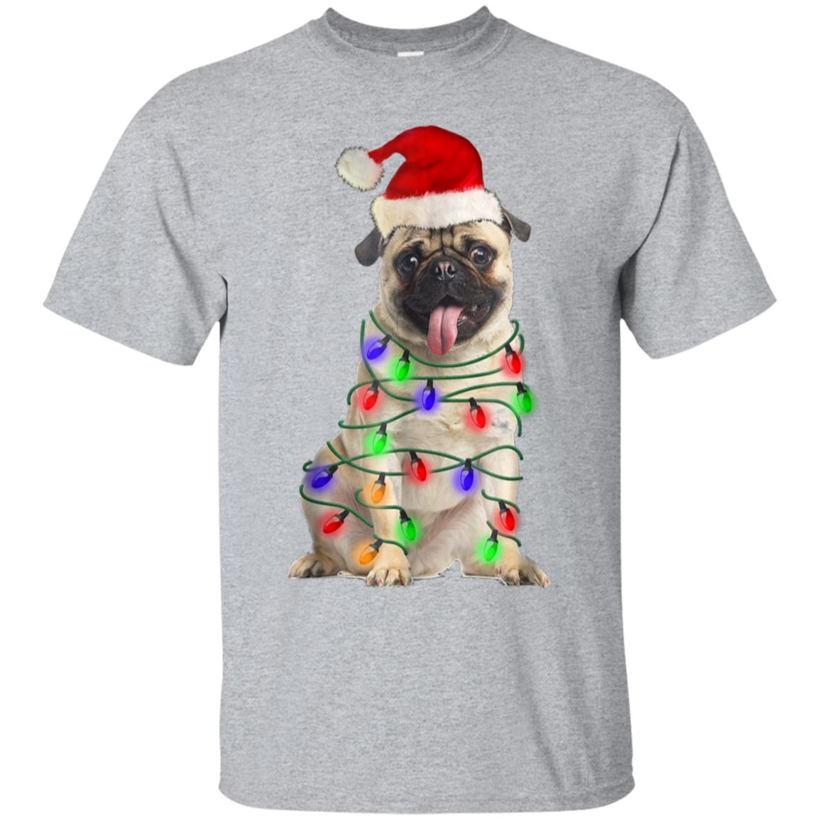 Pug Santa Christmas Light T-shirt 99promocode