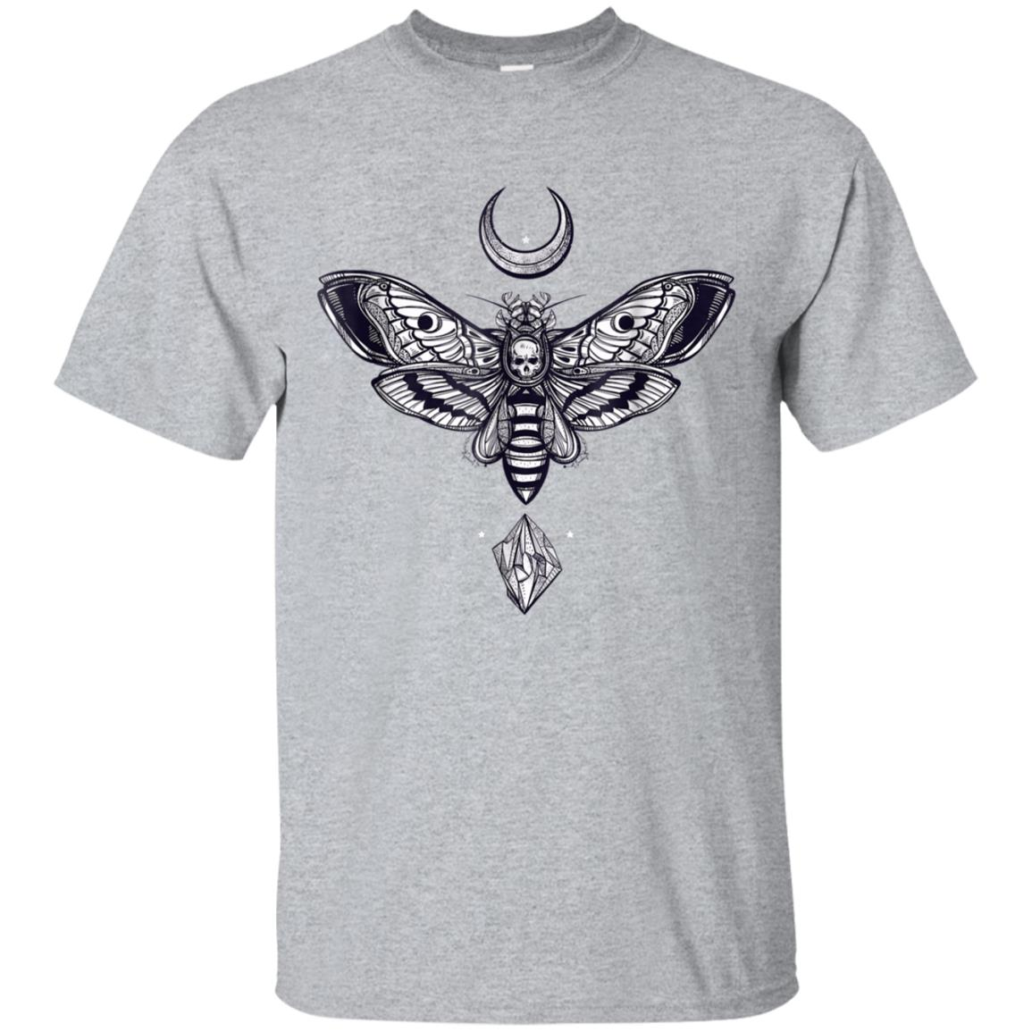 Crystal Moon and Death Moth Tshirt - Mystic Pagan Skeleton 99promocode