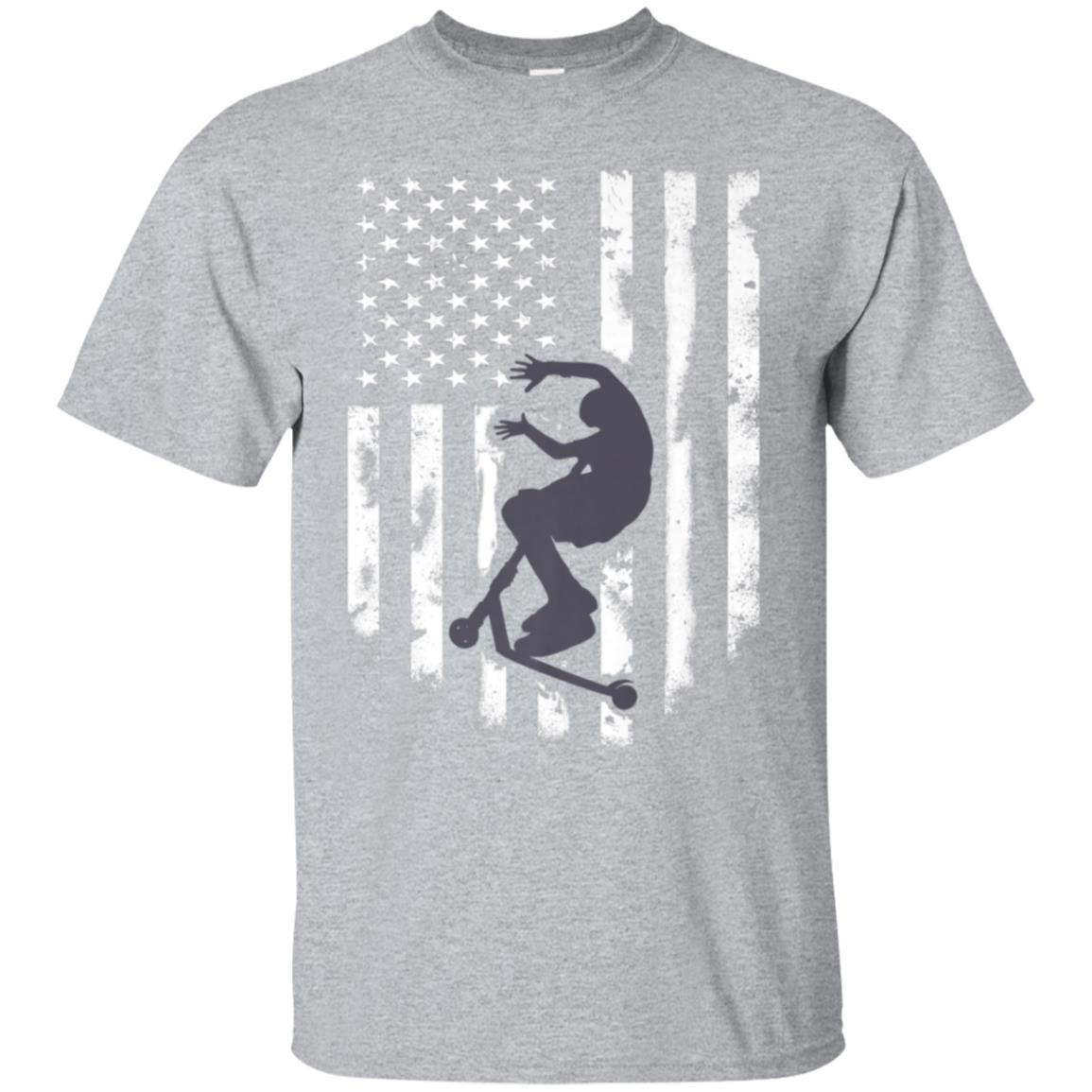 American Flag Stunt Scooter T-Shirt Cool Scootering Top Tee 99promocode