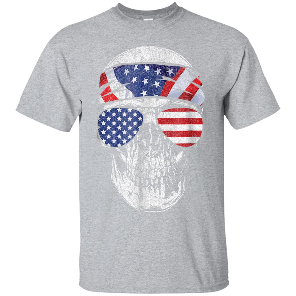 July 4th American Flag Skull T Shirt Patriotic Gift Tee 99promocode