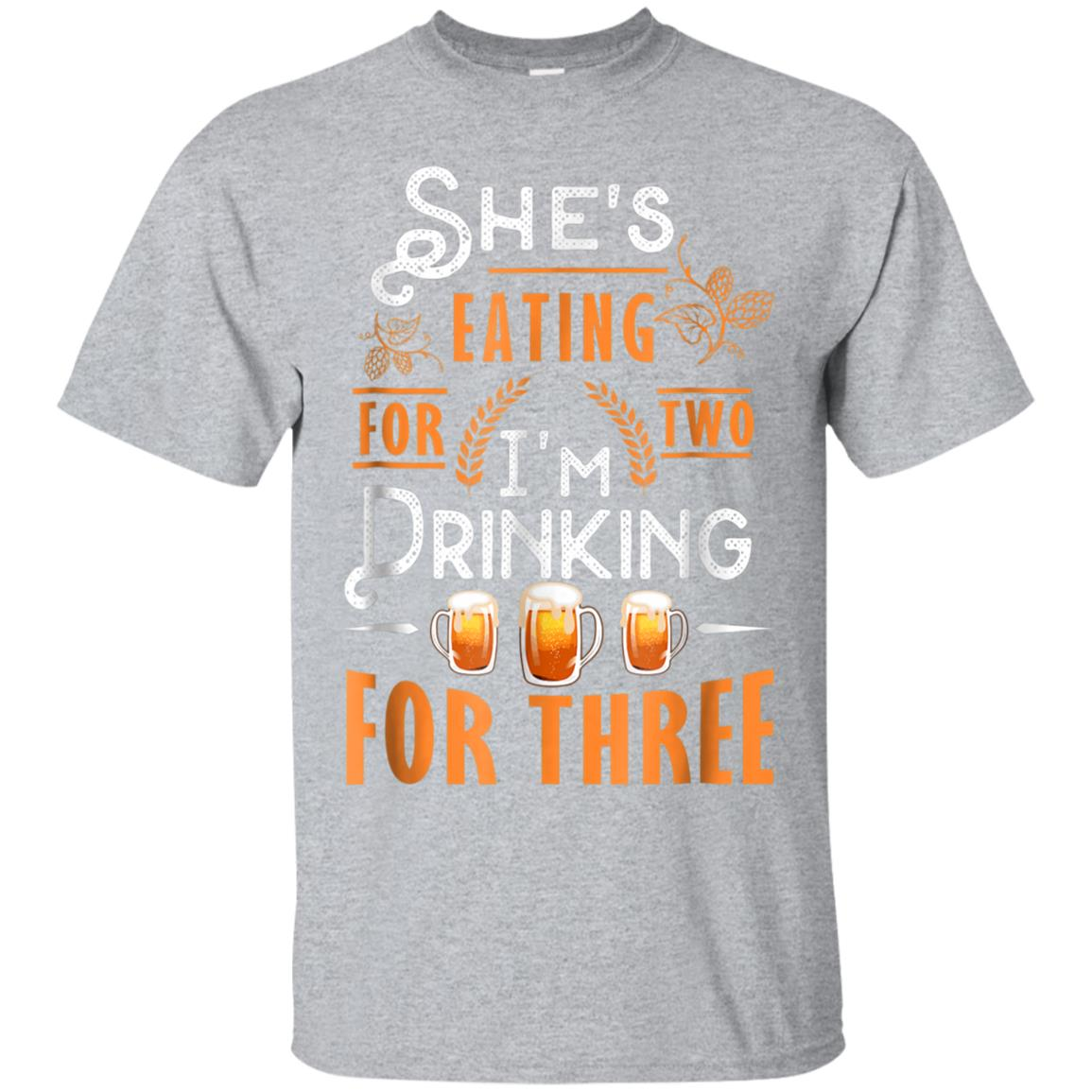 Funny Beer Tshirt, She's Eating for 2, I'm Drinking for 3 99promocode