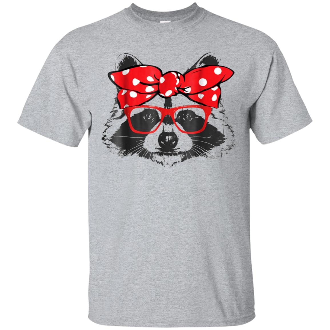 Funny Cute Racoon Mom Wears Bow & Glass Gift Shirt 99promocode