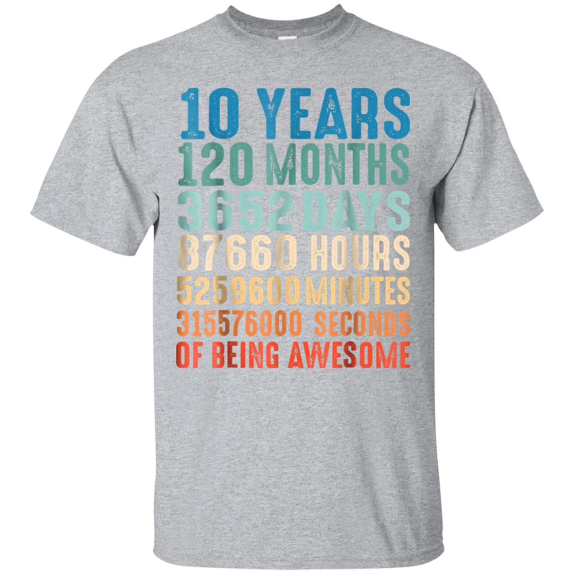 10 Years Old 10th Birthday Vintage Retro T Shirt 120 Months 99promocode