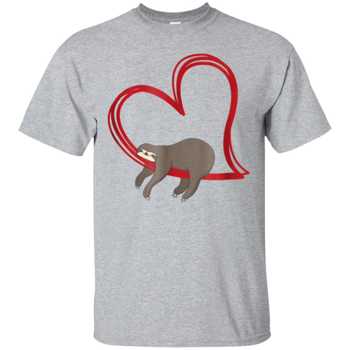 Sloth Shirt Girls Women Napping on Heart Tshirt Sloths Gifts 99promocode
