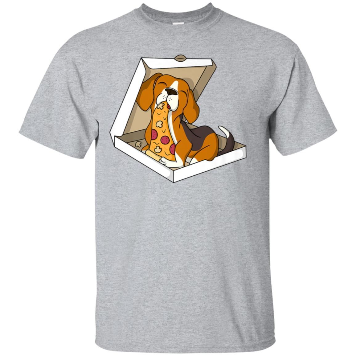 Beagle Eating Pizza T-Shirt Funny Dog Shirt 99promocode
