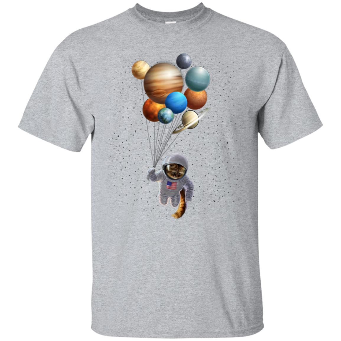 Astronaut Cat in Space Holding Planet Balloon, T-Shirt 99promocode