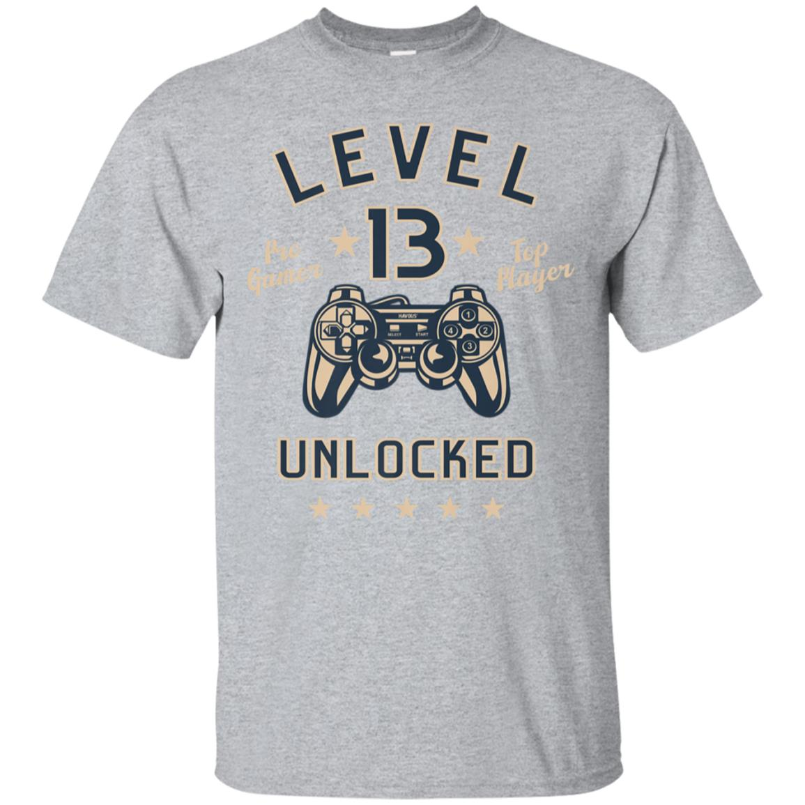13th Birthday Gift T-Shirt Level 13 Unlocked 99promocode
