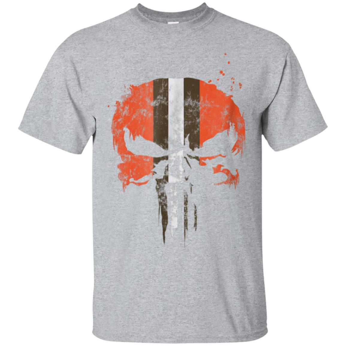 Football Helmet Skull Orange Brown & White T-Shirt 99promocode