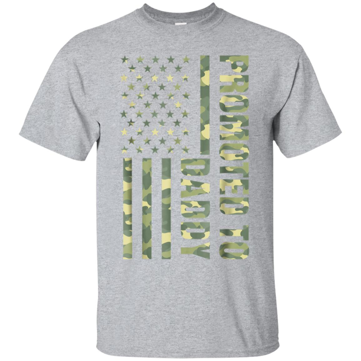 Mens Promoted To Daddy American Flag Camo T-Shirt Fathers Day Tee 99promocode