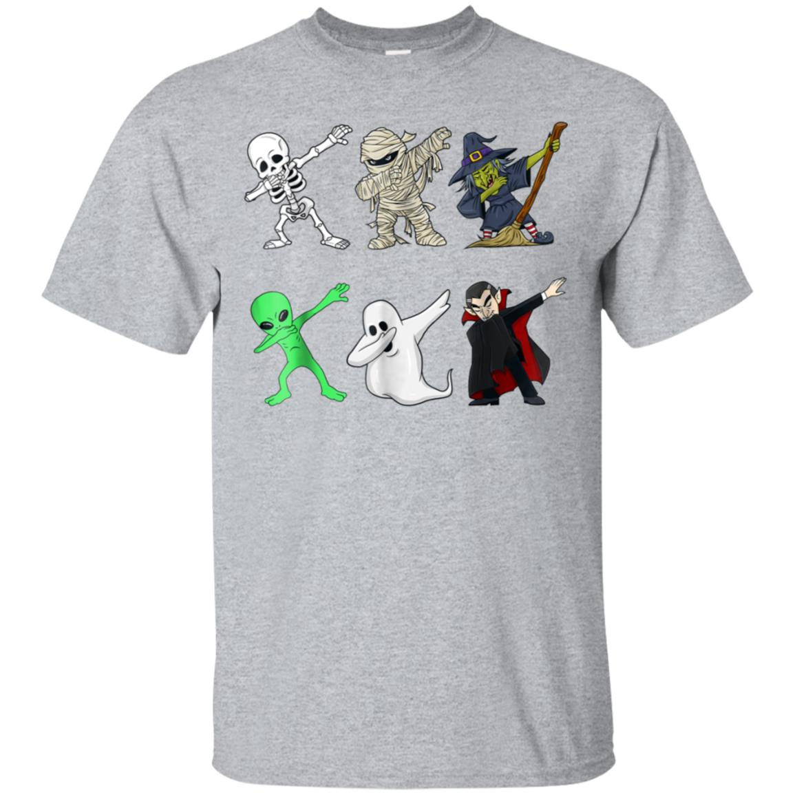Dabbing Skeleton And Monsters Halloween Dracula T Shirt 99promocode