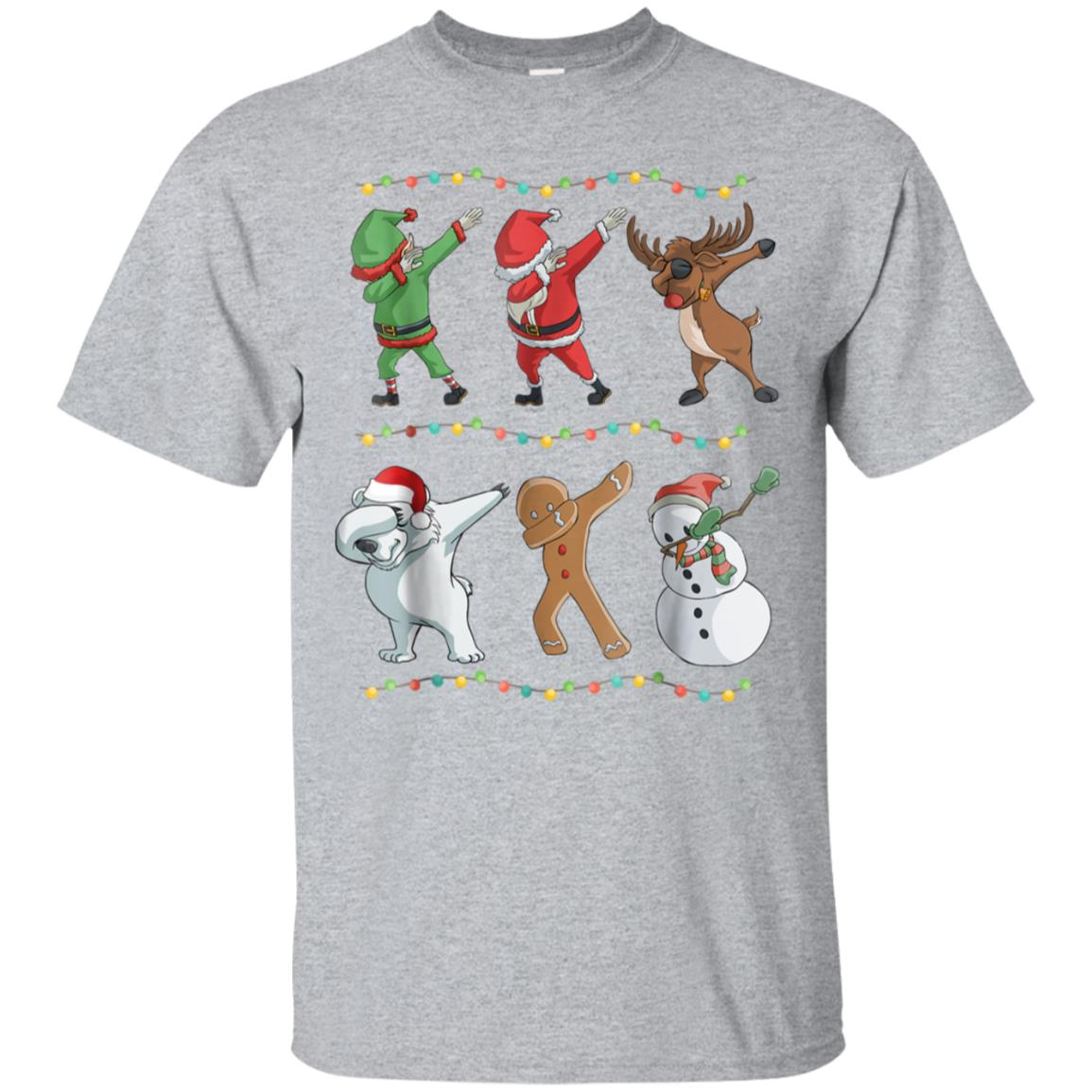Funny Dabbing Santa and Friends T-Shirt Christmas Gift 99promocode