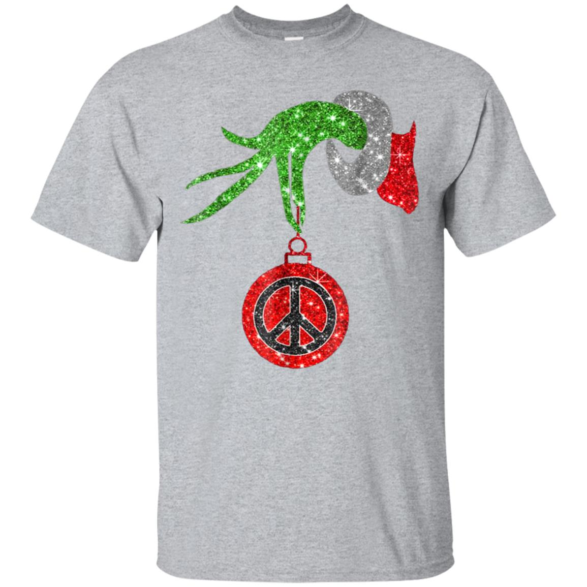 Funny-Grinch-Hand holding peace sign ornament t-shirt 99promocode