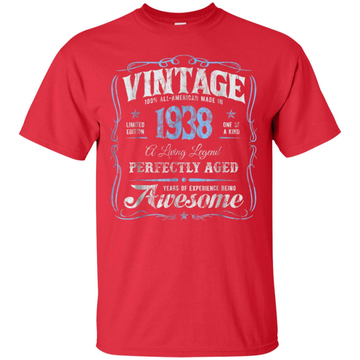 80th Birthday T Shirt Made In 1938 Vintage 80 Years Old Gift