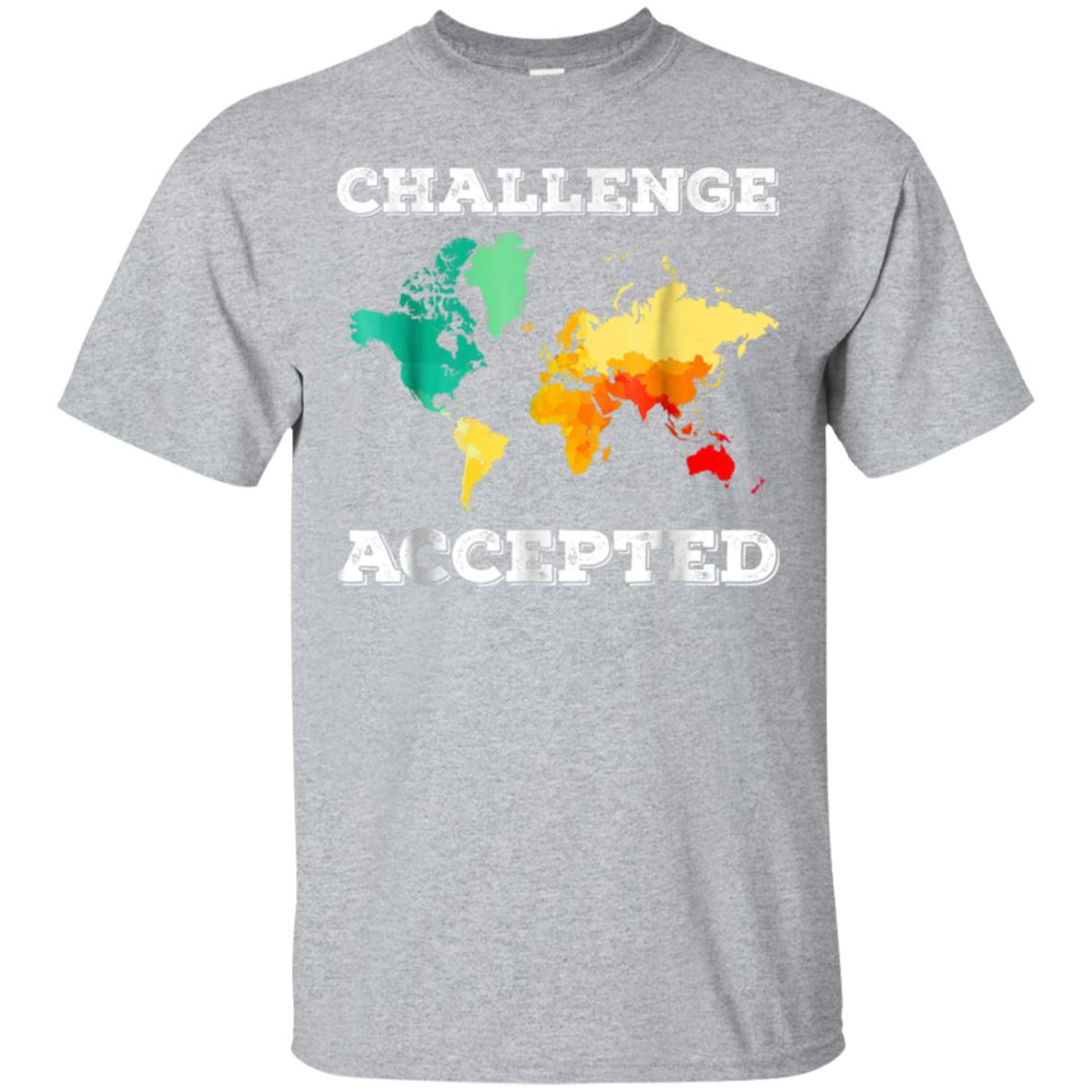 Challenge Accepted Map T Shirt  Travel World Traveler Shirt 99promocode