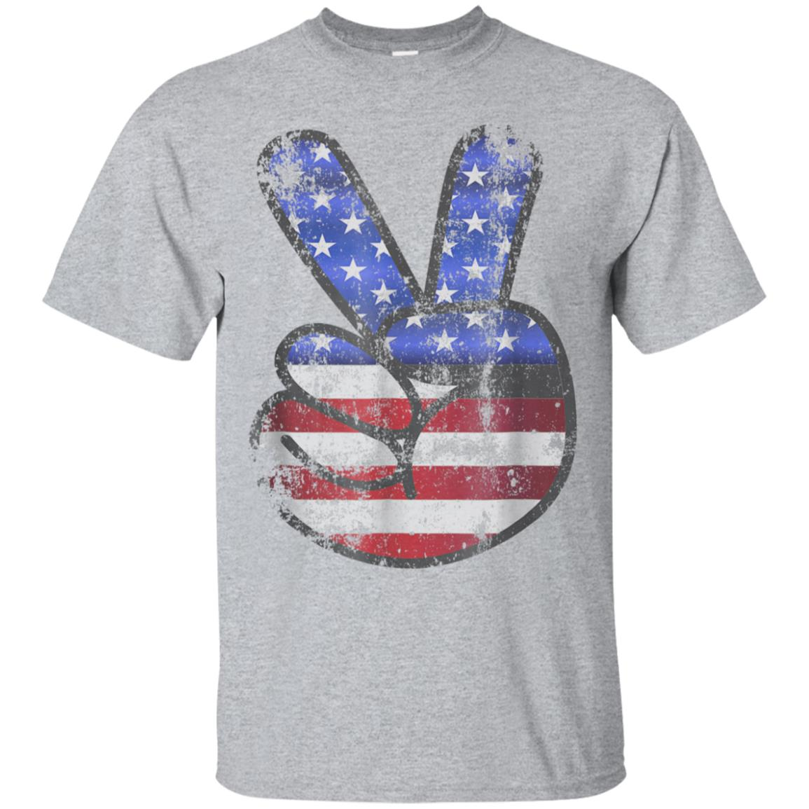 American Flag Shirt USA Vintage Peace Sign 4th of July Gift 99promocode