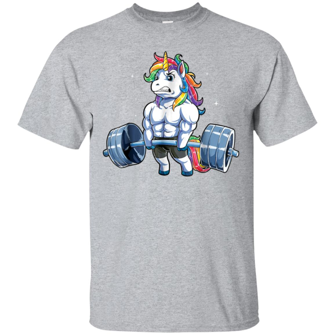Unicorn Weightlifting T shirt Fitness Gym Deadlift Rainbow 99promocode