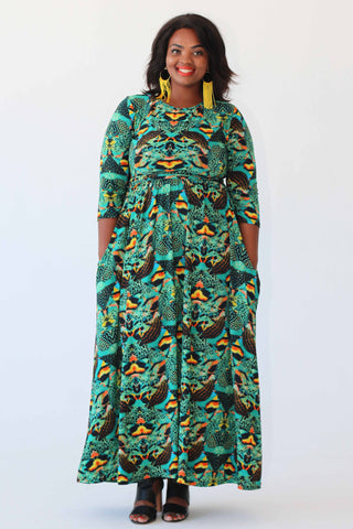 Maxi Dress - Green/Black