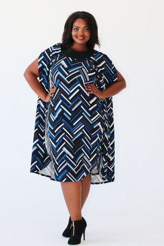 Winter Cape Dress - Blue Print