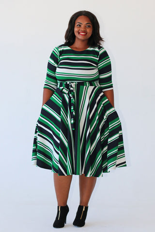 Melissa Dress - Green/White