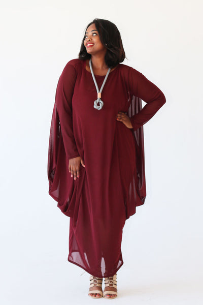 Long sleeve mesh dress - Burgandy
