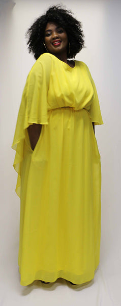 Maxi Cape Dress - Yellow