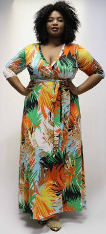 Slinky Wrap - Orange Palm Print