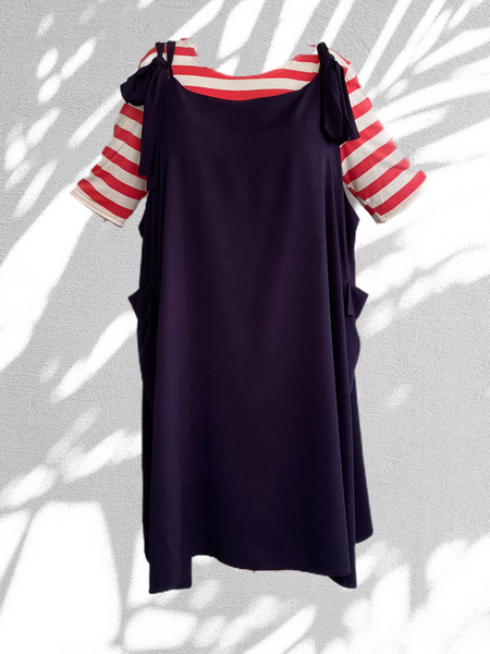 Zoey dress -  2 piece - navy with red and white tshirt