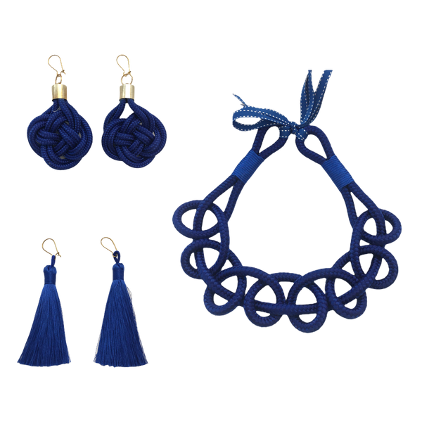 Blue set - Twisted necklace, tassles, knot earrings