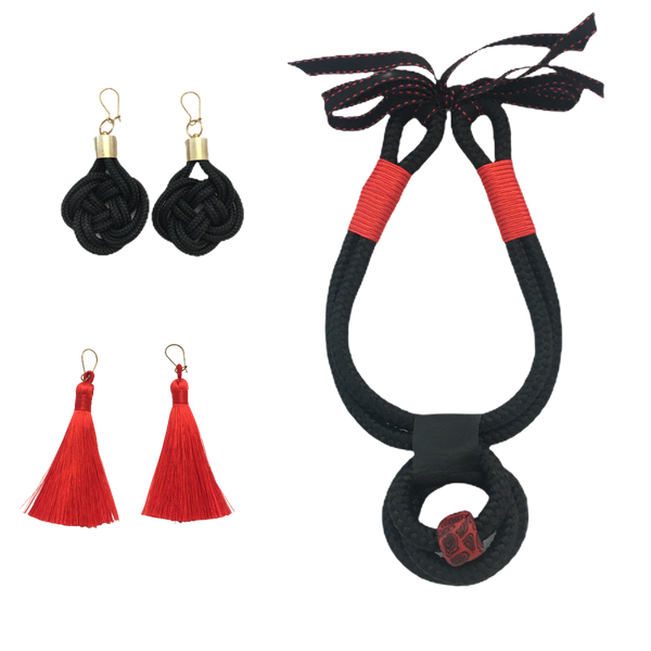 Black and red set - Hannah necklace, tassles and knot earrings