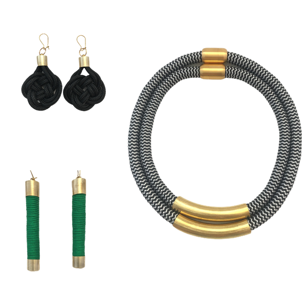 Black and green set - Ruby 2 piece, Alex earrings and knot earrings