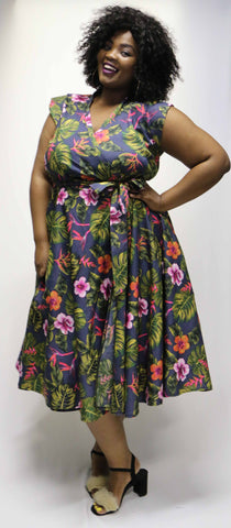 Sue Dress - Tropical Print