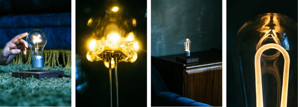 Collage showing light guides of Edison and Marconi levitating light bulbs