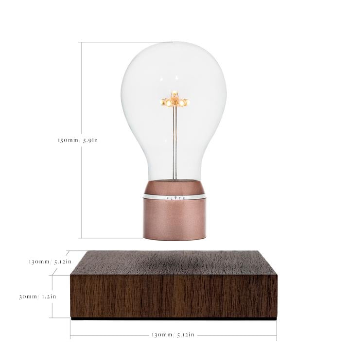 Technical drawing of FLYTE levitating light bulb size