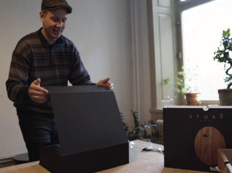First STORY backer opens box of his levitating clock