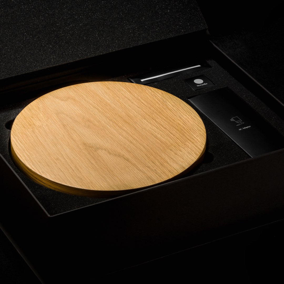 Levitating clock STORY Oak packaging open box view