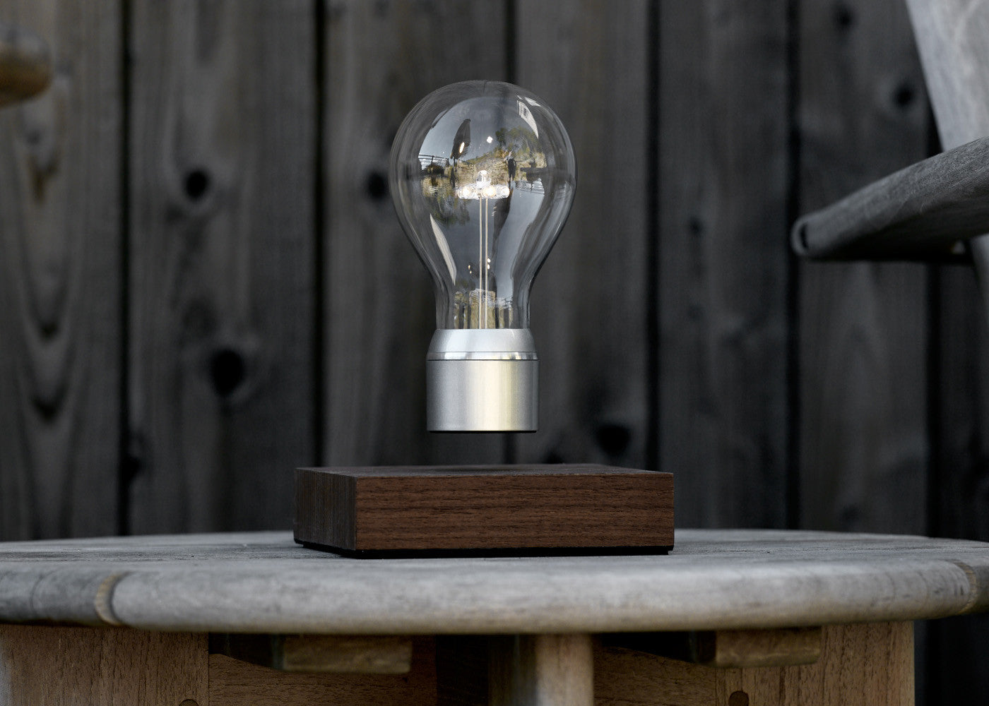 Lifestyle image of FLYTE Levitating light bulb Manhattan on terrace