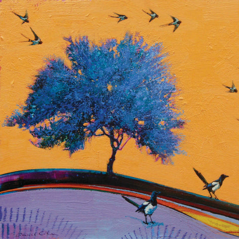 Two Magpies, some Swallows and a Single Blue Tree by Daniel Cole