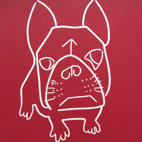 Art Greeting Card, Linocut, French Bulldog by Jane Bristowe