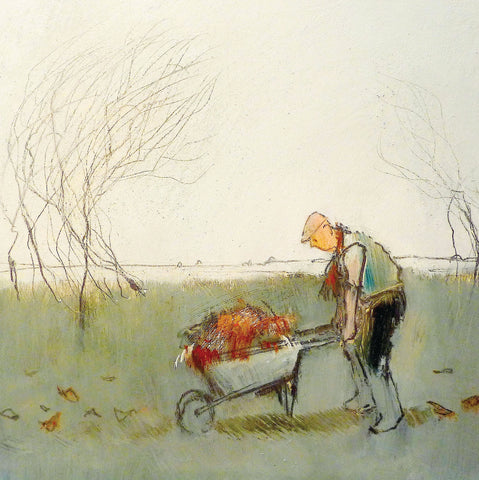 Old man with a wheel barrow in a garden