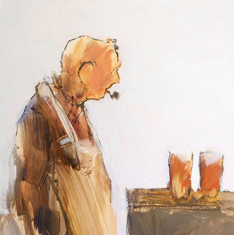 Old man with a pipe looking at two pints of beer